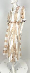 Loro Piana New 6 US 44 IT M White Yellow 2 Pc Silk Twin Set Skirt Blouse Runway