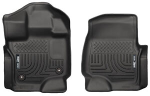 HUSKY WeatherBeater Front Floor Mats for 15-20 FORD F150 F-150 EC CC Black 18361