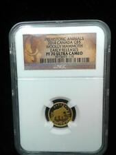 2014 1/10 oz .999 Canada Gold $5 Woolly Mammoth Early Releases PF 70 Ultra Cameo