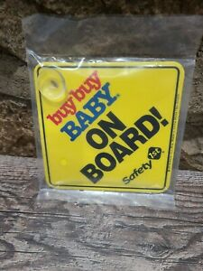 """Buy Buy Baby Yellow """"BABY ON BOARD"""" 5"""" x 5"""" CAR SIGN Safety First NEW SEALED"""