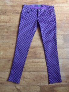 Tripp NYC. Gothic, Punk, Purple & Black Check Stretch Jeans. Size 11 (Fit 14/16)