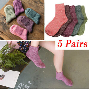 5 Pairs Women Wool Cashmere Winter Warm Socks Thick Sock Soft Solid Casual Sport