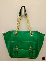* Steve Madden Green Faux Leather Shoulder Bag Handbag Shopper Tote Bag - Large