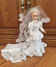 "Vintage 15"" Vinyl Bride Doll White Crocheted Gown Veil, Sleep Eyes, Rooted Hair"