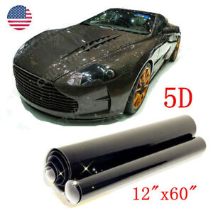 "Black Glossy Carbon Fiber 5D 12""x60"" Vinyl Car Wrap Film Sticker Decal Sheet 1PC"