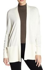 NWT VINCE Sz M SILK CASHMERE OPEN FRONT CARDIGAN SWEATER IVORY OFF WHITE CREAM