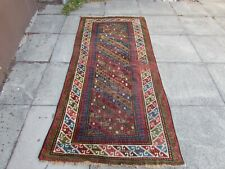 Antique Shabby Chic  Hand Made Traditional Oriental Wool Blue Red Rug 220x101cm