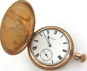 RARE ONLY 24,000 MADE / 1917 ELGIN DOUBLE ROLLER 16S 15J MENS POCKET WATCH.