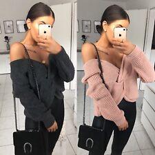 Angesagter Damen Pullover Wickel Pulli Schulterfrei Strick langarm Sweater 40053