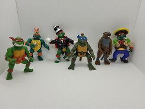 Vintage TMNT Lot Of 6 Figures. Late 1980's early 1990's Splinter Raphael & More!