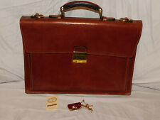 LAPA FLORENCE HANDMADE COGNAC LEATHER BRIEFCASE MADE IN ITALY