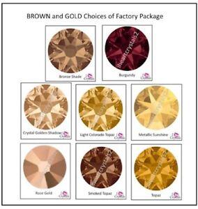 BROWN GOLD Swarovski 1440 Factory Crystals Flatback 5ss 7ss 9ss 12ss 16ss 20ss