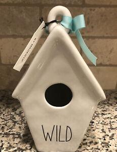 Rae Dunn WILD Ceramic Slant Roof Birdhouse Feather Icon Back Blue Ribbon