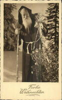German Christmas - Skinny Santa Claus Long Robe c1930 Postcard