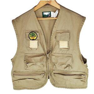 Vtg SafTbak Woods Goods Tan Khaki Camping Fly Fishing Utility Vest Size XL 46-48