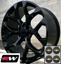 22 inch Chevy Silverado 1500 Replica Snowflake Wheels Gloss Black Rims 22 x9""