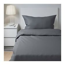 Ikea Gaspa Single Quilt Cover & 2 Pillowcases - Dark Grey 101.513.19