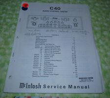 McIntosh C 40 Factory Service Manual  (Paper READ LISTING!)