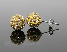 BIG GOLD AMBER CRYSTAL BALL STERLING SILVER PLATED GIRLS LADIES EARRINGS STUDS