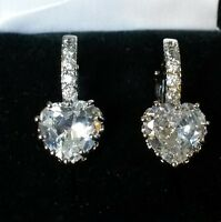 FH Plum UK white sapphire heart French hoop 18k WHITE GOLD gf earrings BOXED