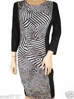 NEW Ex M&S Black & White Jersey Monochrome Casual Shift Dress Size 10 - 18