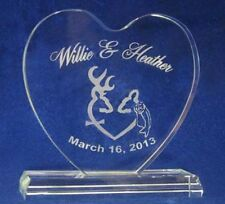 crystal Browning Deer with veil Wedding Cake Topper Engraved Personalize FREE