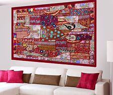 Red Vintage Wall Tapestry Hand Embroidered Cotton Patchwork Hanging Home Decor