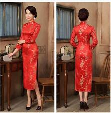 3c77bd42b Red Chinese women's silk/satin long dress evening Cheongsam Sz: 6 8 10 12