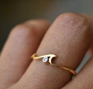Natural Diamond Wave Ring 14k Gold Dainty Ocean Lovers Ring Birthday Gift Ring.