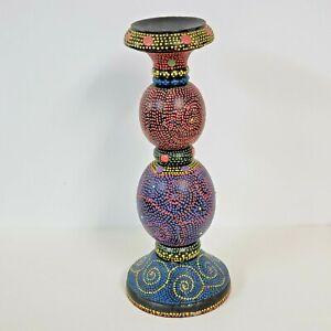 "Mandala Large painted Pillar Candle HolderColorful 13.75"" high colorful"
