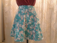 NEW Decree Turquoise Floral Stretch Polyester Skirt Women S NWT Closet330