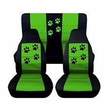 Front Rear Black and Lime Green Seat Covers 1997-2002 Jeep Wrangler Paw Prints