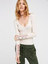 "NWT $68 Free People ""Art School Cuff Top"" in Taupe ~ SMALL"