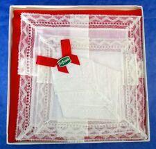 St. Patrick Ireland Stunning Handkerchiefs, Hand Made, Fine White Linen Lace Set