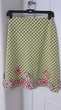WOMENS COLLECTIBLE MOSCHINO CHEAP & CHIC SZ10 GINGHAM GREEN PLAID FLOWERS SKIRT