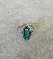 Vintage turquoise and silver oval saw tooth Navajo ring size 7