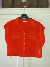 *£5.25* Buys SIZE 8 New Look Orange/Red Cropped Blouse Top VGC FREE P&P
