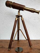 Telescope longue vue laiton cuir sur trépied ,fonctionne,marine,déco pour cinema