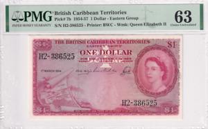 1954-57 British Caribbean Territories 1 Dollar P-7b PMG 63 Choice UNC