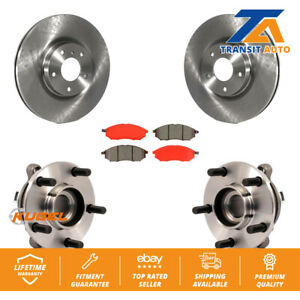 Front Hub Bearing Assembly With Disc Brake Rotors And Pads Kit For Nissan Murano