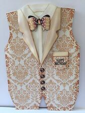 Handmade Men's Floral Waistcoat And Dickie Bow Birthday Card