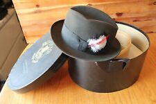 F.R. Tripler & Co Windsor Fedora Hat Feather NY 1964 Byer Rolnick 6-7/8 with box