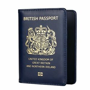 UK Passport Cover   Holders   PU Leather   Navy Blue   British   Wallet Brexit