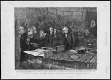 1893 -  Antique Print - LONDON Parliament Gladstone Fowler Speech   (326)