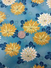100% Acolchado de Algodón Manualidades Telas Flores Azul Detalle Oro Kona Bahía