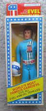 1976 Ideal Evel Knievel flexible action figure & Helmet Unopened box Rare Blue