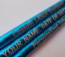 12 - Custom PERSONALIZED Regular Pencils - BLUE GLITZ