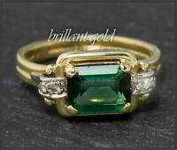 Antiker 2,10ct Diamant & Turmalin Damen Ring, 585 Gelbgold / Weißgold, um 1925