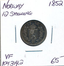 NORWAY 12 SKILLING 1852 KM314.2 - VF
