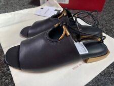 Salvatore Ferragamo Laino Black Leather Sandals sz 8.5 C Italy New In the Box